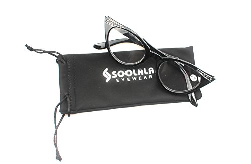 SOOLALA Womens Vintage Cateyes 80s Inspired Fashion Reading Glasses with Rhinestones, Black, - Glasses Eye Reading Rhinestone Cat