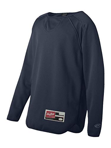 Rawlings Youth Flatback Mesh Long Sleeve Fleece Pullover (Navy) (XL)