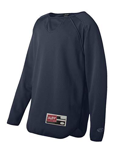 - Rawlings Youth Flatback Mesh Long Sleeve Fleece Pullover (Navy) (M)