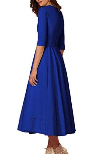 Zafiro Midi vestido profundo cuello Azul vestido cintura Swing YMING V alta mujeres elegante de cóctel vestido Vintage de w7HxxXCqZT