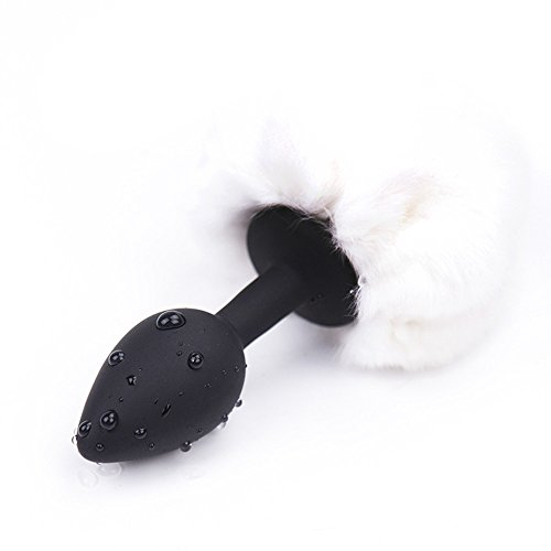Small Silicone Rabbit Tail Anal Butt Plug for Woman (White&Black)