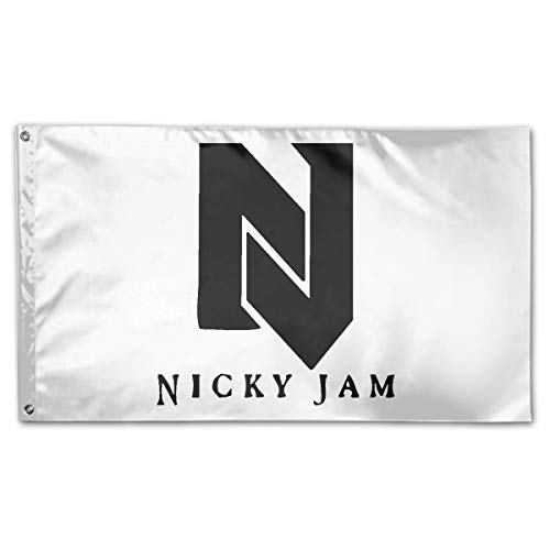 Kim Mittelstaedt 3X5 Foot Nicky Jam Flag - 100% Single Layer of Translucent Polyester/Brass Grommets - Bright Pattern