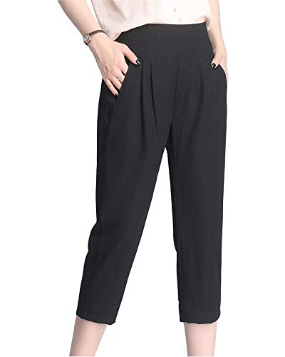 OMG! Women's Fashion Clothing Pants Summer Thin High Waist Plus Size Slim Ice Silk Cotton Linen Harem Pant (Black, XL)