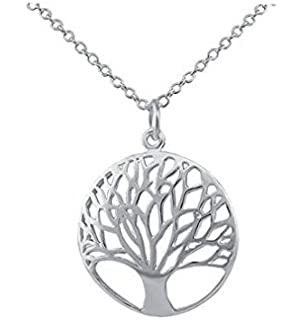 63bbbbf0af2d6a Natthom Vintage Ladies' Necklace The Tree Glass Gem Pendant Long Chain  Blessing Necklaces (D