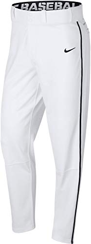 Nike Men's Swoosh Piped Dri-FIT Baseball Pants (White/Black, Small)