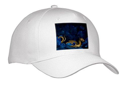 3dRose Uta Naumann Watercolor Illustration Animal – Abstract Illustration Of Night and Stars-Gold Glitter Fantasy Dragon – Caps