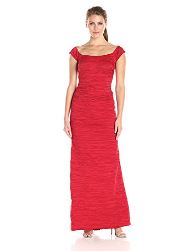 Stretch Taffeta Skirt (Alex Evenings Women's Long Fitted Stretch Taffeta Off The with Fishtail Skirt, Red, 8)