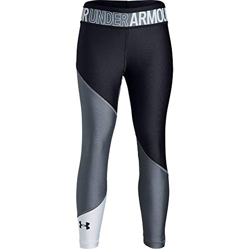 Under Armour Heatgear Armour Color Block Ankle Crop, Pitch Gray//Black, Youth Small