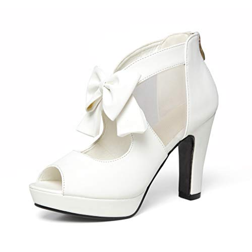 GATUXUS Open Toe Women Platform High Heel Shoes Bows Strappy Sandals (7.5 B(M) US, White) ()
