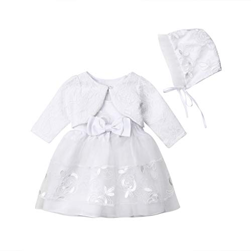Baby Girls Lace Party Christening Princess Sleeveless Tulle Dress Skirts Jacket Hat Special Occasion Dress Clothes Sets (6-9M) White