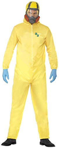Mens Offical Breaking Bad Yellow Hazmat Walter Lab Science TV Book Film Halloween Carnival Fancy Dress Costume Outfit (Medium) -