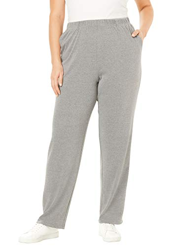 - Roamans Women's Plus Size Soft Knit Straight-Leg Pants - Medium Heather Grey, 1X
