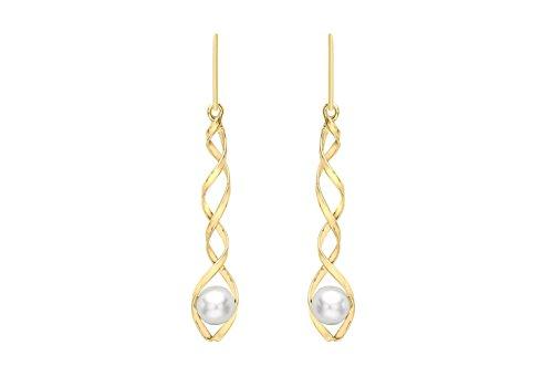 Jewellery World Bague en or jaune 9carats Perle spirale-Boucles d'Oreilles Pendantes Femme -