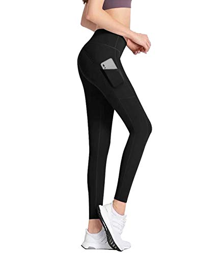 Lynfun High Waist Yoga Pants with Pockets, Tummy Control, Workout Pants for Women 4 Way Stretch Yoga Leggings with Pockets (Black, Large)