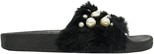 Betani Women's Embellished Faux Fur Pearl Slipper Slide Sandal Black Size: 7.5 B(M) US