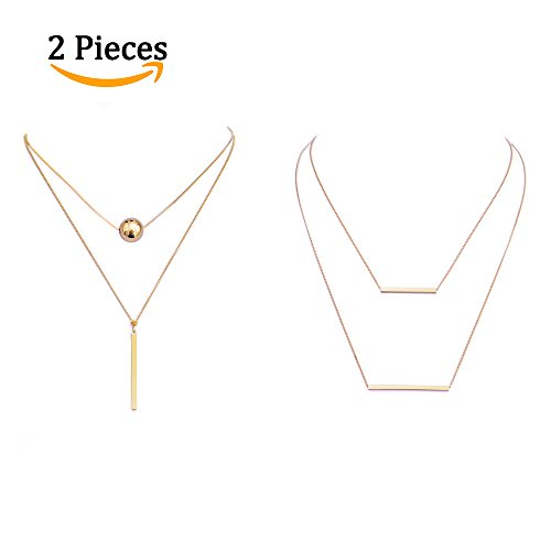 Women 2 Layers Gold Plated Coins Disc Necklace Gold - 3