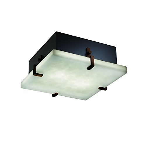 Justice Design Group Lighting CLD-5555-DBRZ Clips 12-Inch Square Flush-Mount