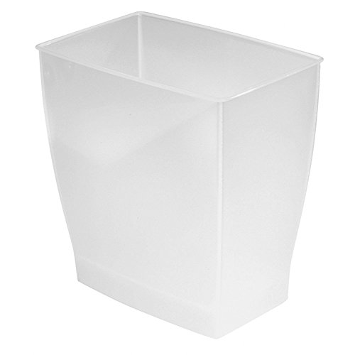 InterDesign Spa Rectangular Trash Can, Waste Basket Garbage Can for Bathroom, Bedroom, Home Office, Dorm, College, 2.5 Gallon, Frost