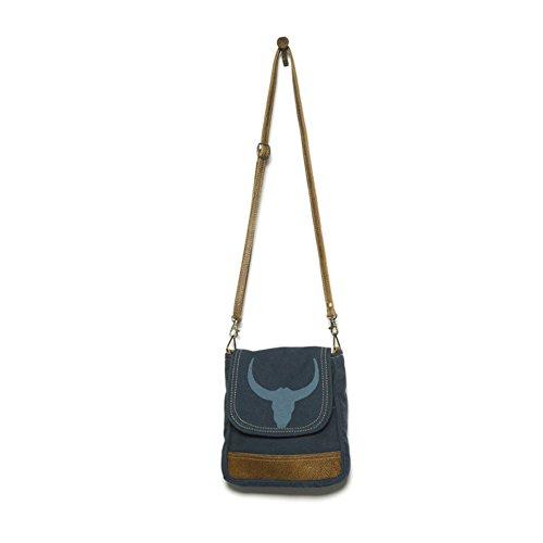 Borsa Taurus a spalla in canvas stonewashed, tracolla in pelle regolabile e rimovibile. Blu