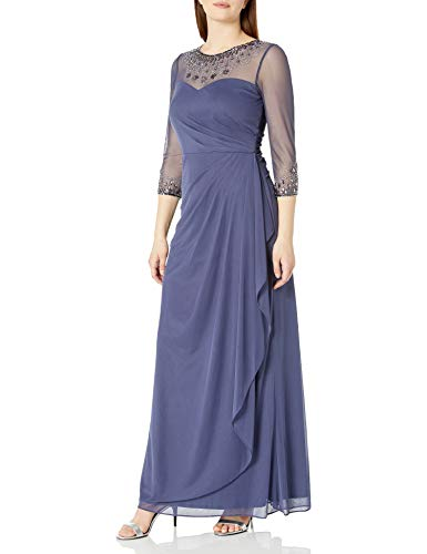Alex Evenings Women's Long A-Line Sweetheart Neck (Petite and Regular Sizes), Violet Dress, 6P