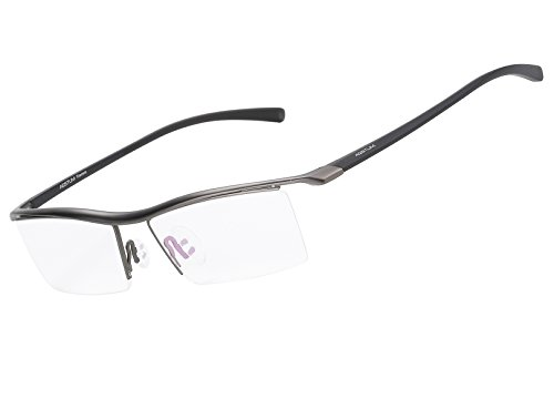 - Agstum Pure Titanium Half Rimless Business Glasses Frame Optical Eyeglasses Clear Lens (Gunmetal)