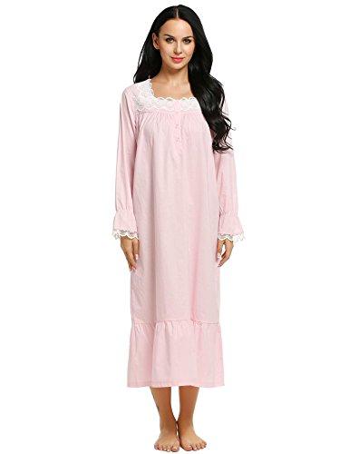 Ekouaer Sleep Tee Shirts Womens Cotton Sleepwear Comfortable Nighty (Pink, Large) (Long Sleeved Gown)