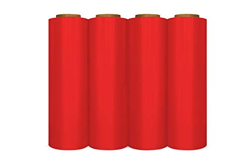 "4 Rolls Red Color Hand Stretch Wrap Plastic Film 18"" Wide x 1500 Feet x 80 Gauge"