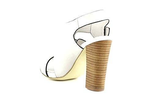 CAFÈ NOIR Scarpa Sandalo donna pelle bianco tacco alto P/E 2016 cod. MB151 (35, BIANCO)