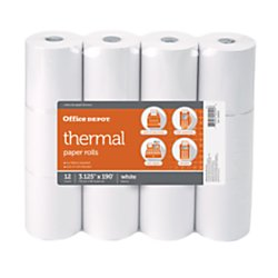 OfficeMax Thermal register roll, 3 1/8in. x 190in, White, Pack Of 12