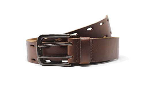 Lucky Brand - Men's - Genuine Leather Double Prong Belt (38, Brown) by Lucky Brand