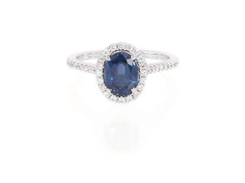 Blue Sapphire Gold 18k Ring - Ella Rose 1.72ct Oval Blue Sapphire and Diamond Halo Engagement Ring in 18K White Gold