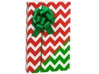 Reversible RED & GREEN CHEVRON CHRISTMAS Gift Wrap Wrapping Paper - 16ft Roll (Gift Wrap Stripe Christmas)