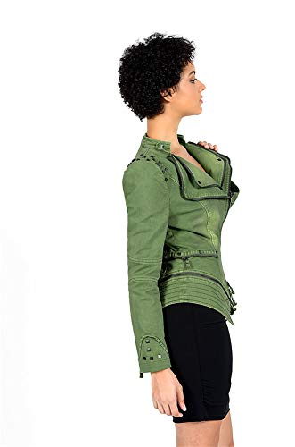 Cremallera Tachonado Formando Chaqueta Motocicleta Sijux Slim Moda Con Abrigo Perfectamente Mujer Solapa Green De qWnpSgw6
