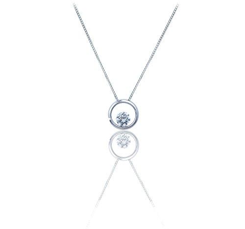 14k Gold. Diamond Pendant Necklace-Round Diamond (G-H Colour) Invisible Setting Pendant, White Gold