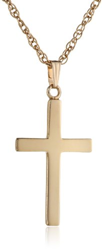 14k Gold-Filled Polished Cross Pendant Necklace, 16