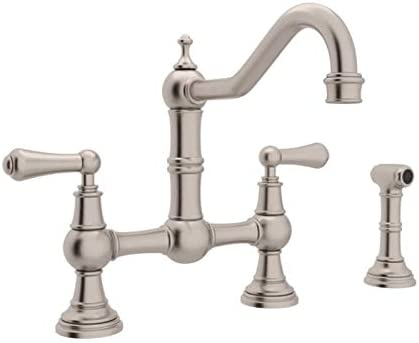 Rohl U.4756L-STN-2 Perrin and Rowe Provence Lever Handle Bridge Kitchen Faucet with Sidespray Rinse and 9-Inch Reach Country Spout, Satin Nickel