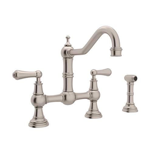 Rohl U.4756L-STN-2 Perrin and Rowe Provence Lever Handle Bridge Kitchen Faucet with Sidespray Rinse and 9-Inch Reach Country Spout, Satin -