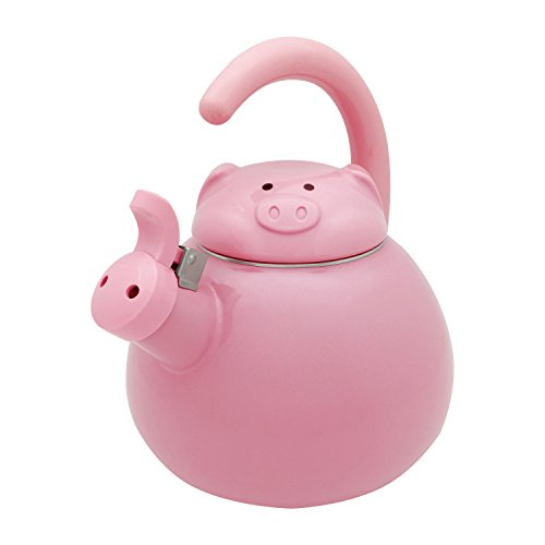 Supreme Housewares Whistling Tea Kettle Pink Pig 2.1 quart