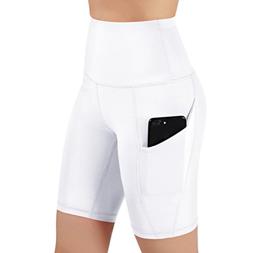 ODODOS High Waist Out Pocket Yoga Shots Tummy Control Workout Running 4 Way Stretch Yoga Shots, White, X-Large by ODODOS (Image #2)