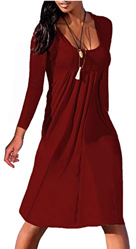 Women's Casual Plain Simple T-Shirt Dresses 3/4 Sleeve Shift Dress Round Neck Wine Red S
