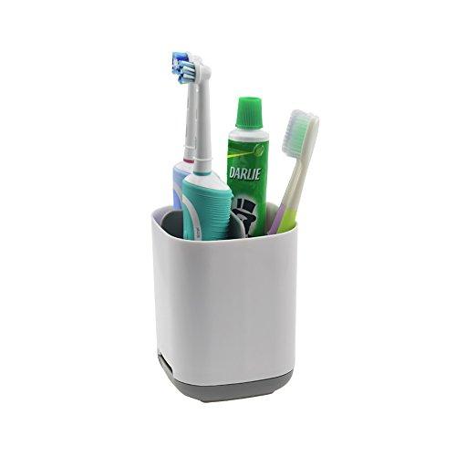 Sam4shine Toothbrush Caddy, Upgraded Bathroom Toothbrush Holder, Electric/Battery Toothbrush and Toothpaste Organizer Rack(Small, Grey)