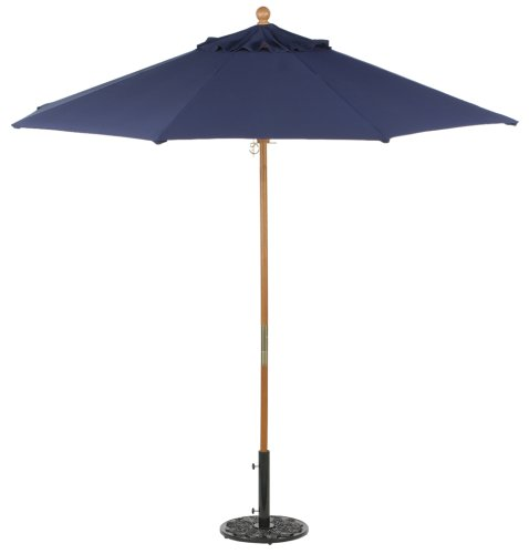 Teak Outdoor Frame - Oxford Garden Sunbrella 9-Foot Market Umbrella, Navy Blue