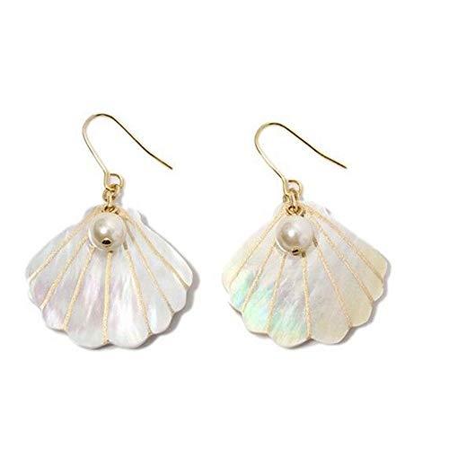 Statement Seaside Wind Charm Holiday Pearl Pearl Earrings Shell Women (Converter Earring Gauge)
