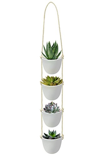 Nellam Ceramic Rope Hanging Planters – 4 Pcs, White, Modern Basket Pots, Tiered Hangers – for Indoor and Outdoor Use - Ideal for Garden Flowers, Herbs, Strawberry Plants (Indoor Planter Raised)