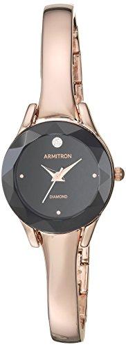 Armitron Women's 75/5327BKRG Diamond-Accented Rose Gold-Tone Bangle Watch