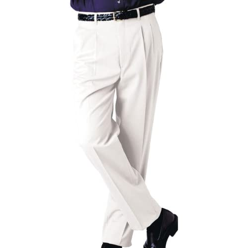 Cheap Edwards Men's Business Casual Pleated Pant, WHITE