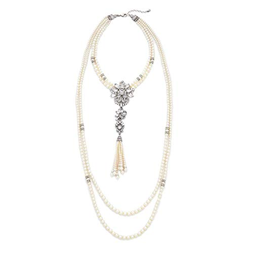 WYWT Pearl Necklace Strands with Crystal Pendent Multi-Layer Retro Vintage Style Statement Jewelry Fashion for Women