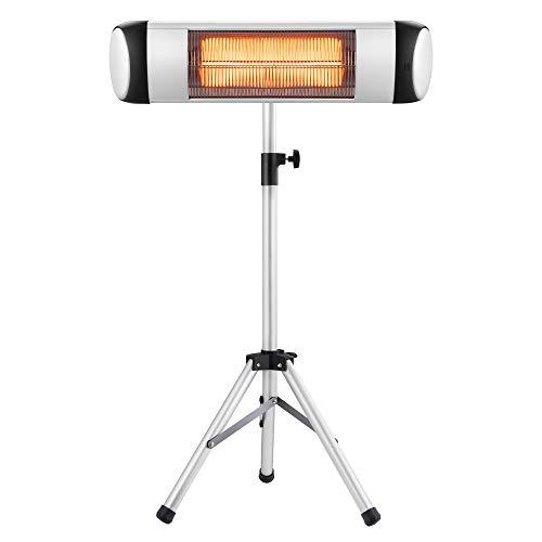 Xbeauty Infrared Patio Heater, Outdoor/Indoor Electric Heater Freestanding Wall Mounted Space Heater for Garden, Balcony, Garage with Waterproof Aluminum Pole, Tripod, 1500W (Indoor Outdoor Heater Electric)