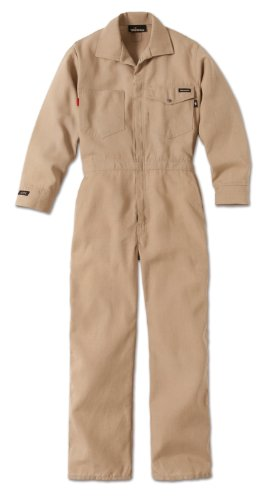 Workrite FR Flame Resistant 4.5 oz Nomex IIIA Industrial Coverall, Snap Wrist, X-Large, Regular Length, Khaki ()