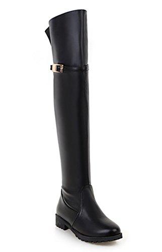 YE Damen Flach Overknee Stiefel mit Blockabsatz Schnallen und Reißverschluss Wasserdicht Boots Schuhe Schwarz